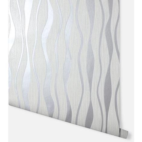 Metallic Wave White & Silver Wallpaper - Arthouse - 292800
