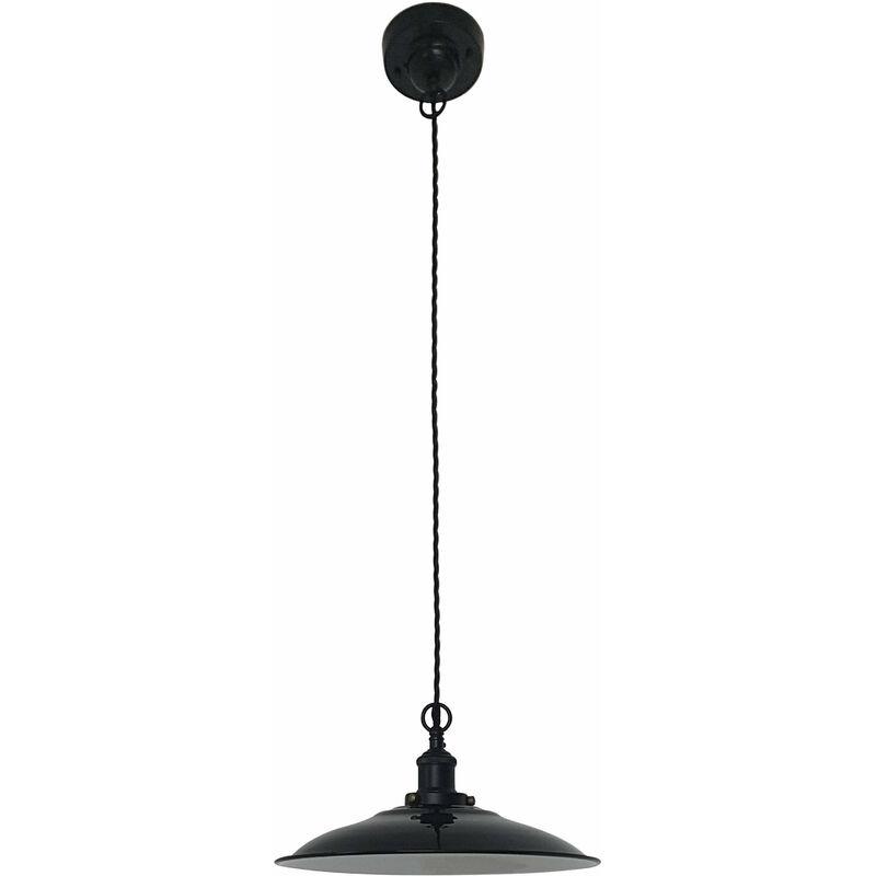 08-faro - Lang schwarze Pendelleuchte 1 Glühbirne