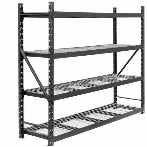 Metallregal STRONG, Metallregal mit Stahlgitterboden 183x180x60cm, 4 Böden, 800kg je Boden, anthrazitgrau