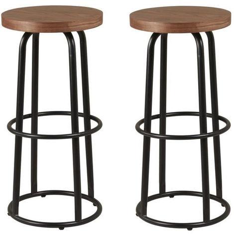 Tabouret De Bar Style Industriel.Metalo Lot De 2 Tabourets De Bar Mdf Decor Bois Pieds En Metal Noir Style Industriel Assise H 74 5cm