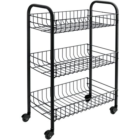 Metaltex Kitchen Trolley with 3 Baskets Siena Black - Black