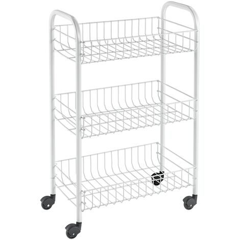 Metaltex Kitchen Trolley with 3 Baskets Siena White - White