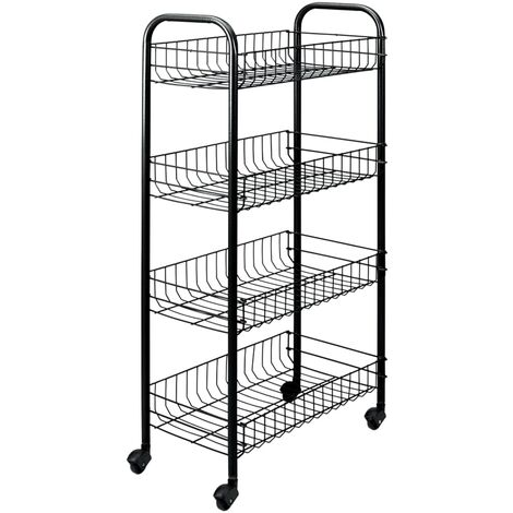Metaltex Kitchen Trolley with 4 Baskets Pisa Black - Black