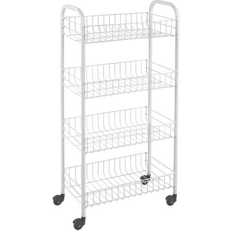 Metaltex Kitchen Trolley with 4 Baskets Pisa White