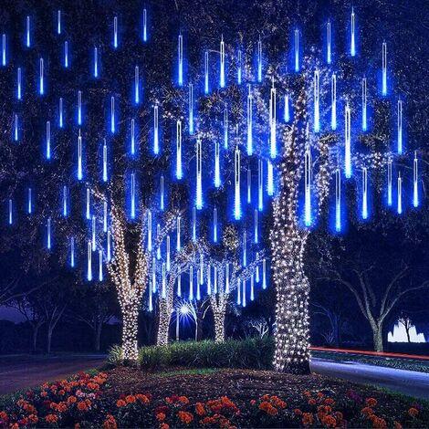 Météore Pluie Guirlandes Lumineuse, 8 Tubes 30CM 192 LED Eclairage Météore Douche Lumière Etanche LED Pour Mariage Maison Arbre Jardin de Noël Parti (Bleu)