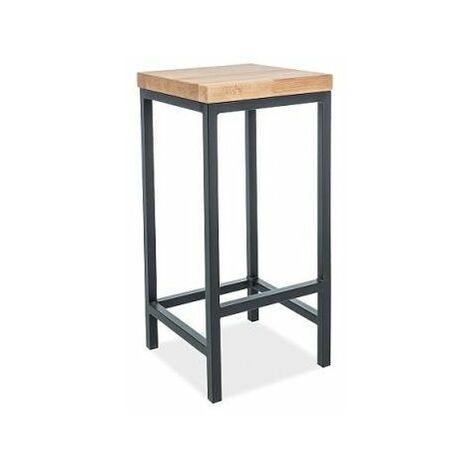 METGO   Tabouret en métal + bois style loft   Dimensions 75x35x35 cm   Tabouret Haut Industriel   Tabouret de Bar + Repose-Pieds - Noir