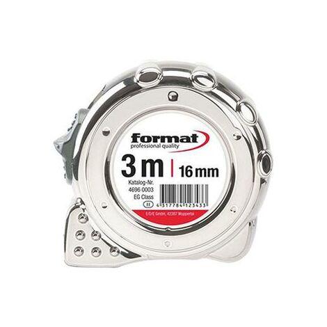 Mètre-ruban de poche chromé 8mx25mm FORMAT 1 PCS