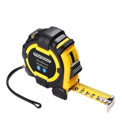 Mètre ruban magnétique - Enrouleur automatique - 10m - 7,5m - 5m - 3m - Monzana