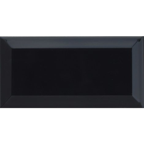 Metro Bevelled Black 10x20 Ceramic Tile