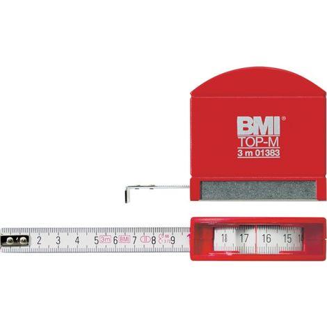 Metro de cinta de bolsillo con ojo de buey, blanco/rojo, 3mx13mm blanco BMI