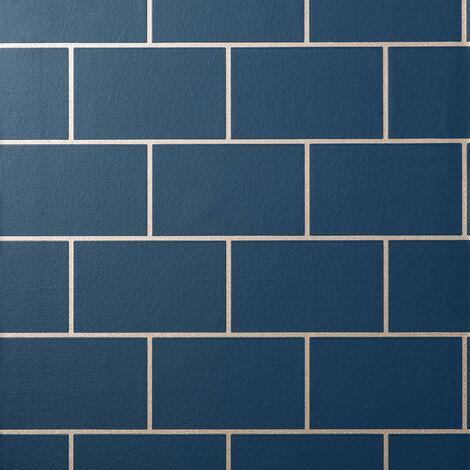 Metro Tile Wallpaper Crown Rose Gold Navy Blue Metallic Textured Vinyl Glitter
