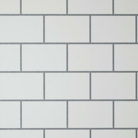 Metro Tile Wallpaper Crown Silver White Metallic Textured Vinyl Glitter