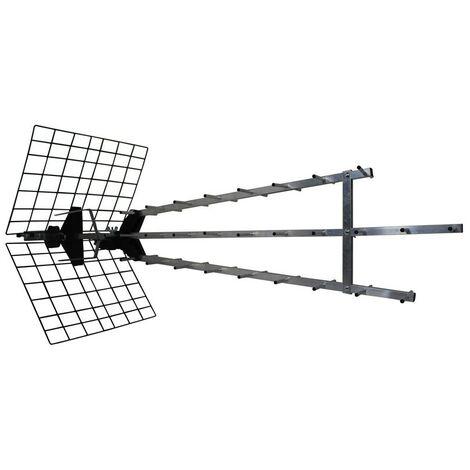 "main image of ""Metronic 415049 - Antena UHF triple amplificada, ganancia: 57dB, 28 elementos, conexión toma F, 4K ready"""