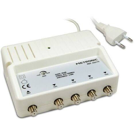 """main image of """"Metronic 432175 - Amplificador repartidor blindado con ajuste de ganancia - 4 salidas F, 4G"""""""