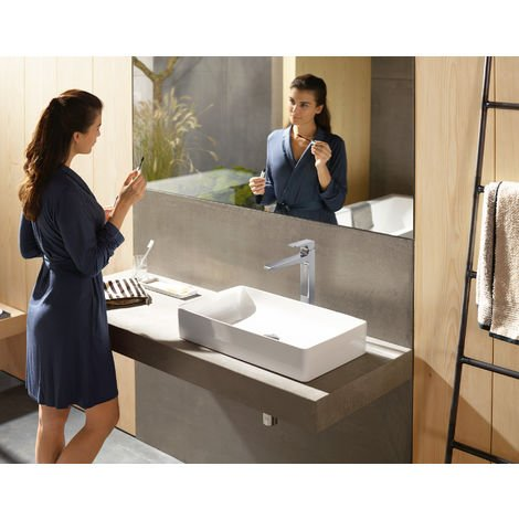 Metropol Single lever basin mixer 260 with loop handle and push open waste for washbowls (74512000)
