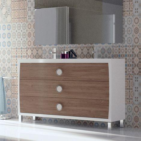 Meuble 120 cm 3 tiroirs blanc et bouleau + double vasque céramique, Quartz