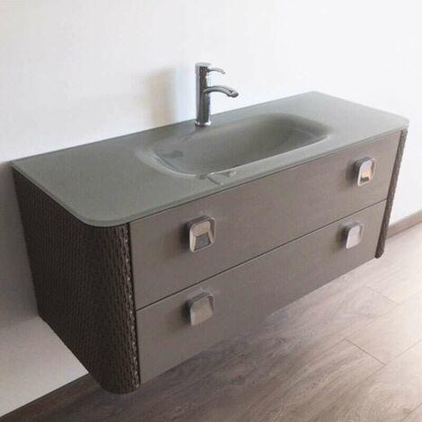 Meuble 120 cm gris perle avec plan vasque en verre - 2 tiroirs - Madison