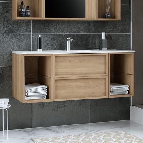 Meuble 130 cm Lag aspect chêne doré avec plan vasque céramique - 2 tiroirs et 2 niches