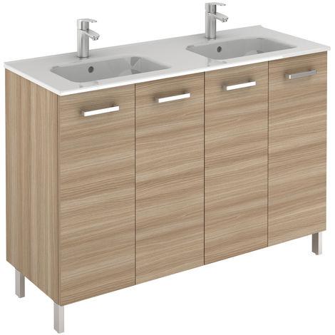 Meuble 4 portes Ancoflash Color avec plan double vasque céramique - Anconetti - Noyer sablé - 120cm