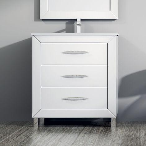 Meuble 60 cm 3 tiroirs laqué blanc + vasque céramique, Aktu - Blanc
