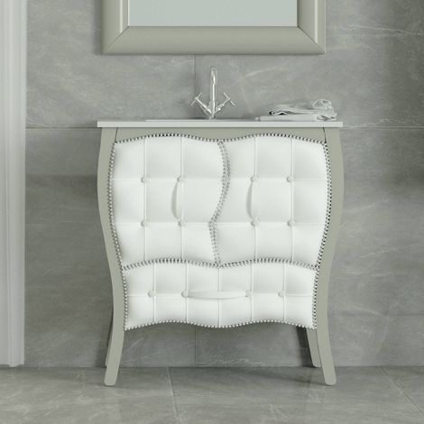Meuble 80 cm laqué gris 2 portes 1 tiroir capitonnés + vasque céramique, Alcazar