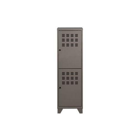 Meuble à 2 portes sur pied en Metal GRIS SOURIS NACRE
