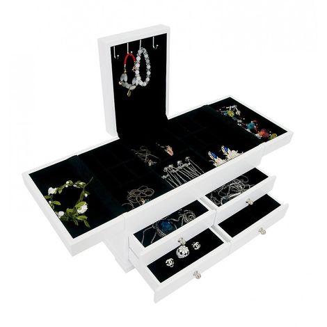 Meuble à Bijoux avec Tiroirs, Boîte à Bijoux avec Compartiments, 35 x 20 x 18 cm, Blanc, Matériau: MDF, Verre