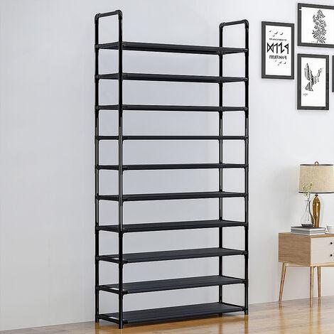 Meuble a Chaussures 10 etageres Modulables Structure en Acier 100 cm x 29,5 cm x 176 cm Noir