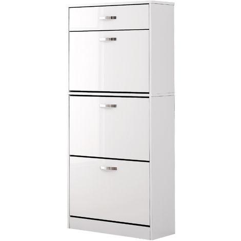 Meuble à chaussures 60L x 24l x 135H cm blanc avec 3 portes abattantes + tiroir blanc