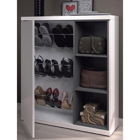 Meuble à chaussures avec 1 porte et 3 étagéres, coloris blanc brillant - Dim : 108cm x 79cm x 25cm