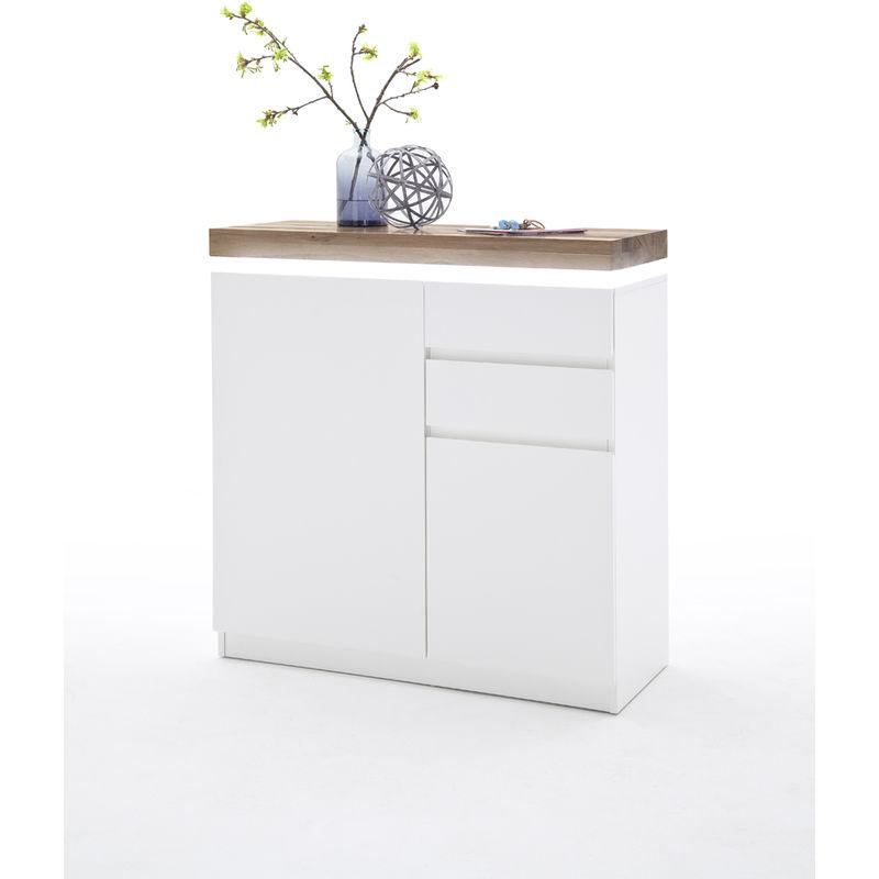 Meuble Blanc Laqué Brillant meuble à chaussures avec led en laqué blanc brillant avec décor béton - l91  x h97 x p38 cm -pegane-