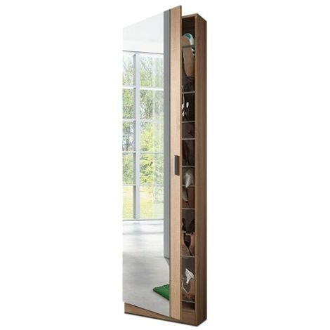 meuble a chaussures avec miroir en chene canadian 180 x 50 x 20 cm pegane