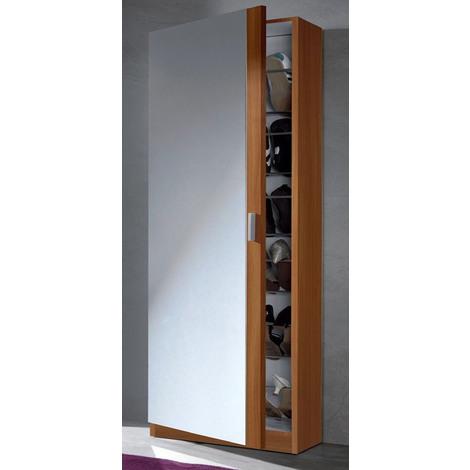 Meuble A Chaussures Avec Miroir Et 1 Portes Coloris Chataignier Clair Dim 180cm X 50cm X 20cm 27for 007866c