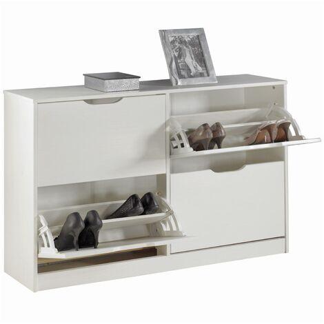 Meuble à chaussures BASIL armoire avec 2 x 2 abattants rangement pour 24 paires, en pin massif lasuré blanc