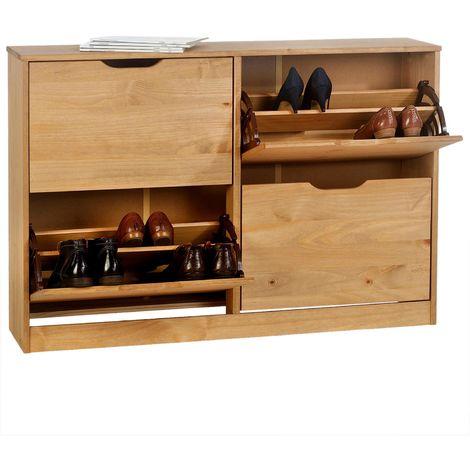 Meuble à chaussures BASIL armoire avec 2 x 2 abattants rangement pour 24 paires, en pin massif lasuré couleur miel