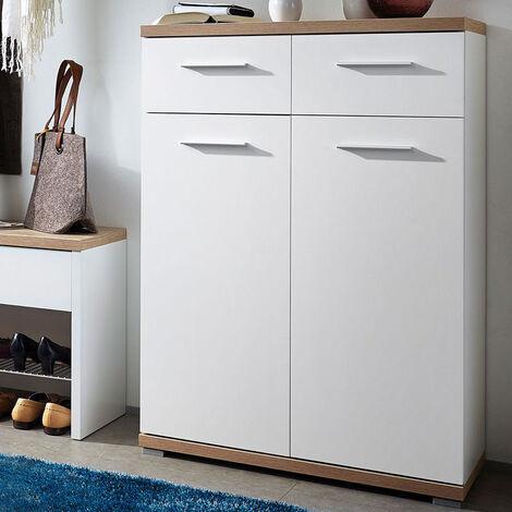 Meuble à chaussures blanc/chêne avec 2 portes et 2 tiroirs Dimensions : 74 x 110 x 34 cm