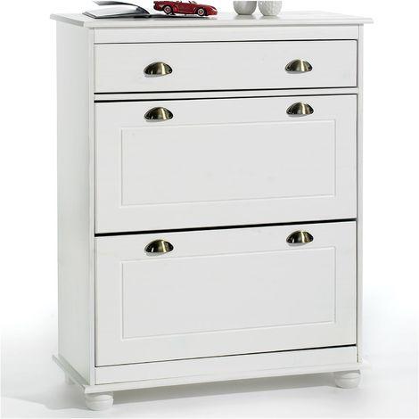 Meuble à chaussures COLMAR armoire rangement avec 2 abattants et 1 tiroir, en pin massif lasuré blanc
