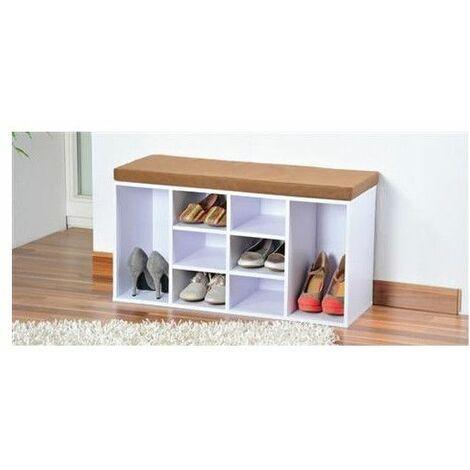Meuble à chaussures d'intérieur - Banc avec coussin pour l'entrée - Livraison gratuite