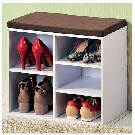 Meuble à Chaussures Dintérieur Banc Blanc Avec Coussin Pour L