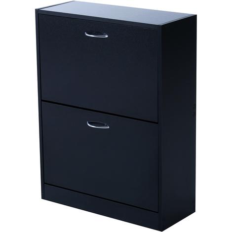 Meuble à chaussures double compartiment à bascule 60L x 24l x 80H cm panneaux de particules noir