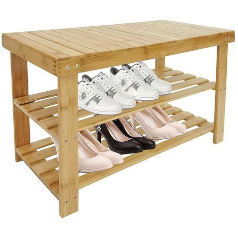 Meuble à Chaussures en Bambou, Étagère en Bambou à 3 Niveaux, 70 x 45 x 28 cm, Matériau: Bambou