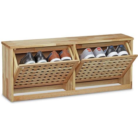 Meuble à chaussures en bois de noyer 2 compartiments rangement à bascule pivotant HxlxP: 38 x 94 x 20 cm sol ou montage mural, couleur naturellle