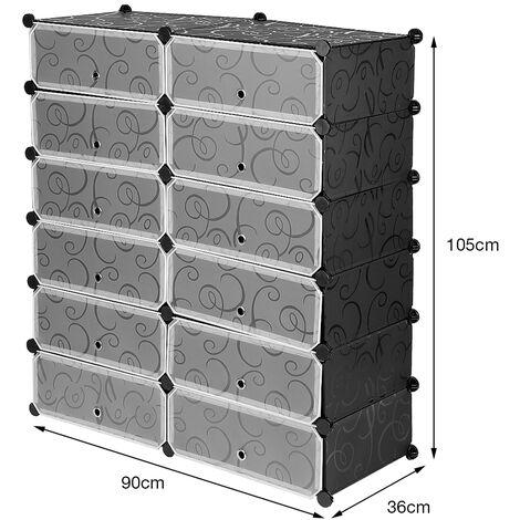 Meuble a chaussures en plastique Armoire 12 Cubes Etagere de rangement 95 x 37 x 107 cm Noir imprimee