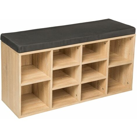 Meuble à chaussures étagère meuble banc gris foncé/marron chêne clair - Gris