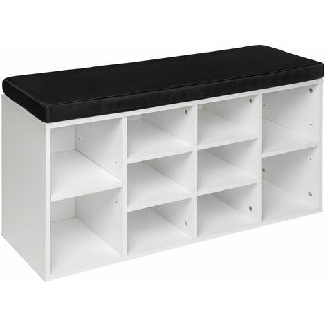 Meuble à chaussures étagère meuble banc noir/blanc - Blanc
