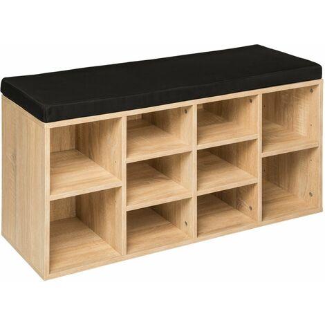 Meuble à chaussures étagère meuble banc noir/marron chêne clair - Marron