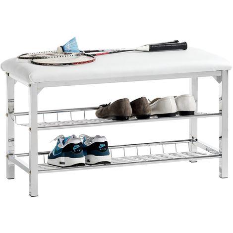 Meuble à chaussures INA banc avec assise et 2 étagères en métal chromé, rangement pour 8 paires, avec coussin en synthétique blanc