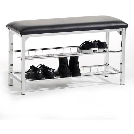 Meuble à chaussures INA banc avec assise et 2 étagères en métal chromé, rangement pour 8 paires, avec coussin en synthétique noir