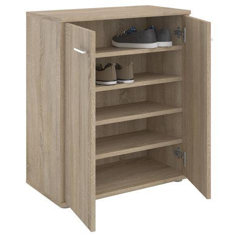 Meuble à chaussures OLYMPE, commode meuble de rangement avec 2 portes, en mélaminé décor chêne sonoma