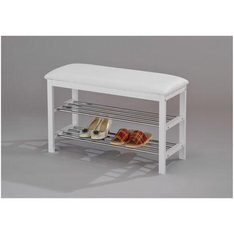 Meuble à chaussures SANA banc avec assise et 2 étagères rangement pour 8 paires en bois massif de coloris blanc